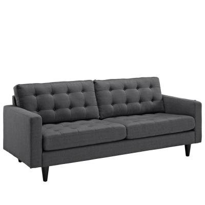 Empress 84.5 in. Gray Polyester 4-Seater Tuxedo Sofa with Square Arms