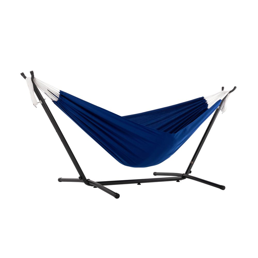 Vivere 9 ft. Portable Polyester Hammock with Stand in Royal Blue