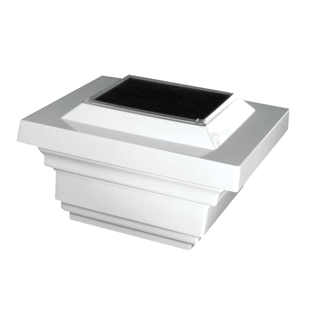 4 in. x 4 in. White PVC Outdoor Regal Solar Post