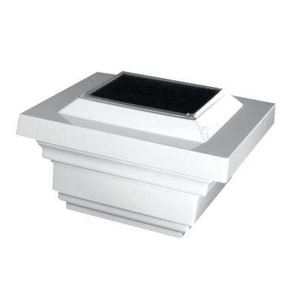 4 in. x 4 in. White PVC Outdoor Regal Solar Post Cap (2-Pack)
