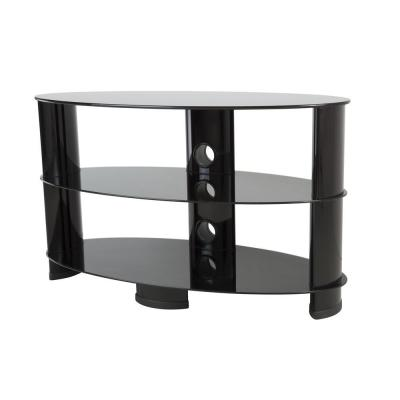 33 in. Black Glass TV Stand Fits TVs Up to 42 in. with Flat Screen Mount