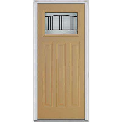 36 in. x 80 in. Madison Right-Hand Inswing Craftsman 1/4-Lite Decorative Painted Fiberglass Smooth Prehung Front Door