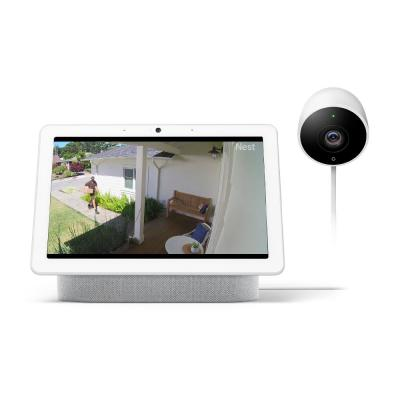 Nest Hub Max in Chalk and Nest Cam Outdoor Security Camera