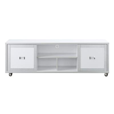 Alphonse 60 in. White and Silver MDF TV Stand Fits TVs Up to 66 in. with Storage Doors