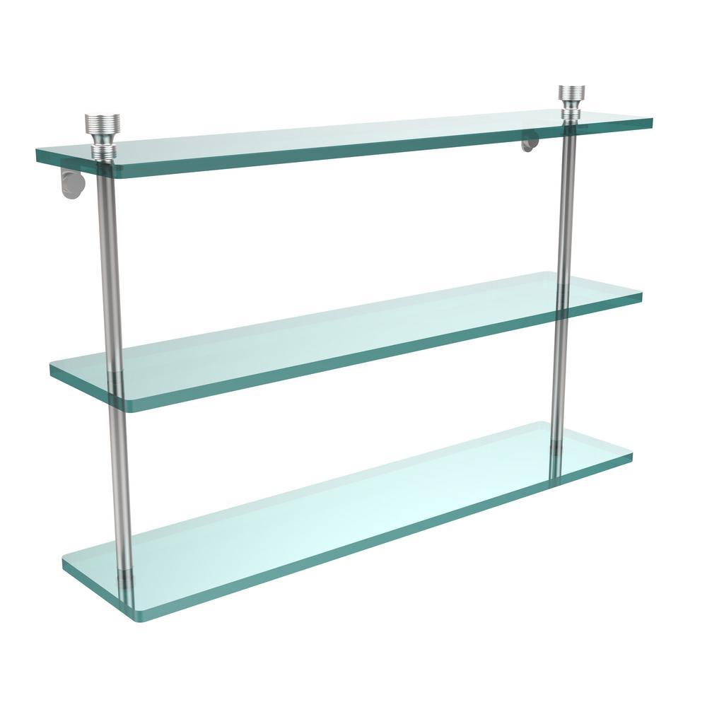 Foxtrot 22 in. L  x 15 in. H  x 5 in. W 3-Tier Clear Glass Bathroom Shelf in Satin Chrome