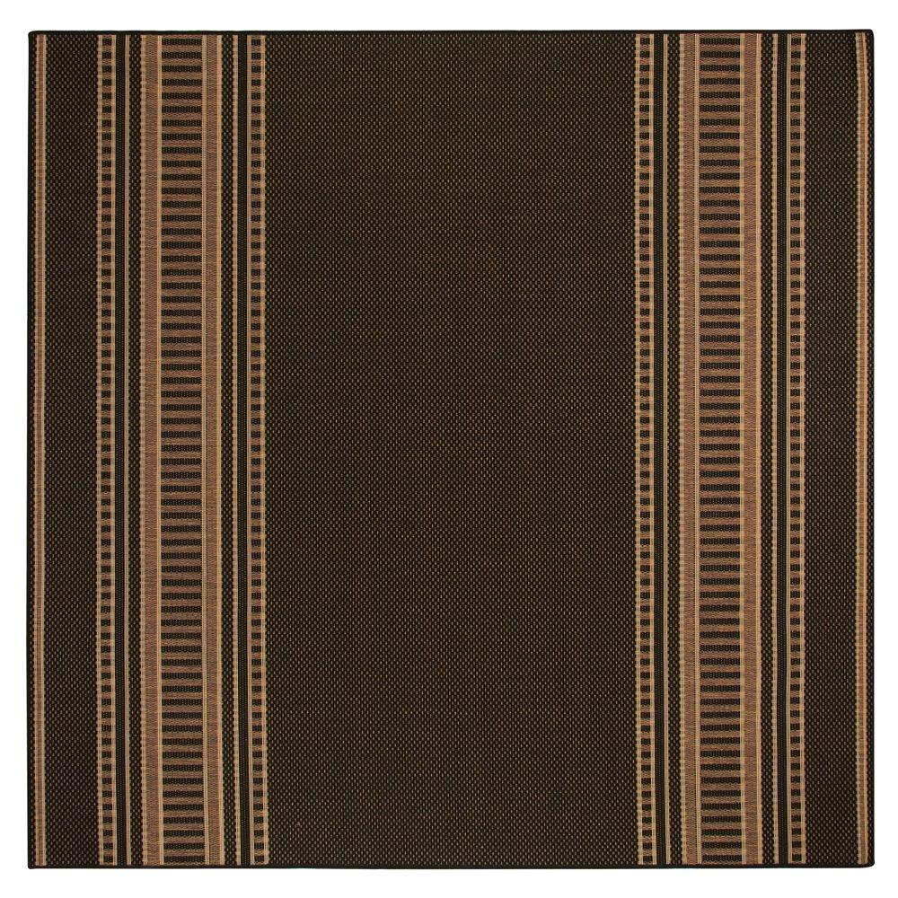 Home Decorators Collection Pueblo Design Black/Cocoa 7 ft. 6 in. Square Area Rug