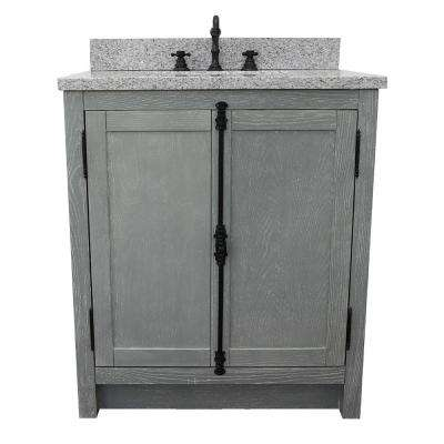Plantation 31 in. W x 22 in. D Bath Vanity in Gray with Granite Vanity Top in Gray with White Rectangle Basin