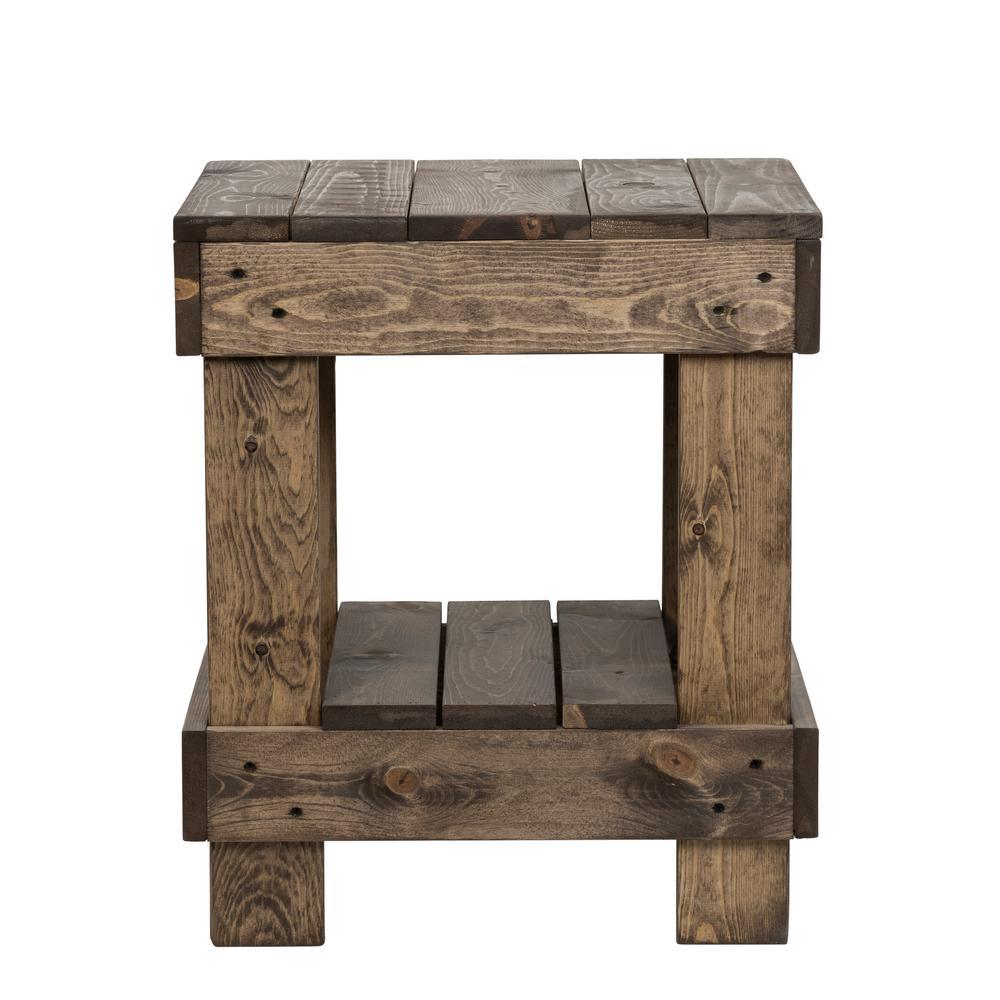 Landmark 24 in. Dark Walnut Pine Wood End Table