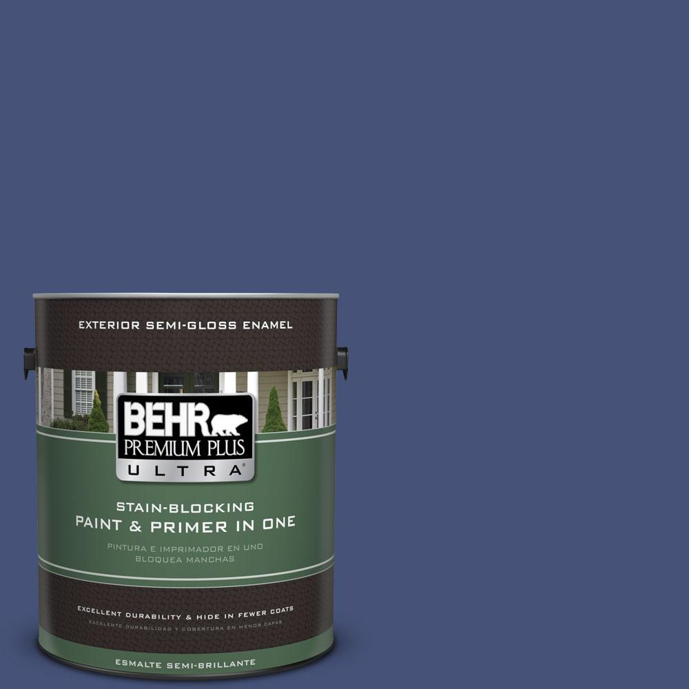 BEHR Premium Plus Ultra 1-gal. #620D-7 Deep Indigo Semi-Gloss Enamel Exterior Paint, Purples/Lavenders