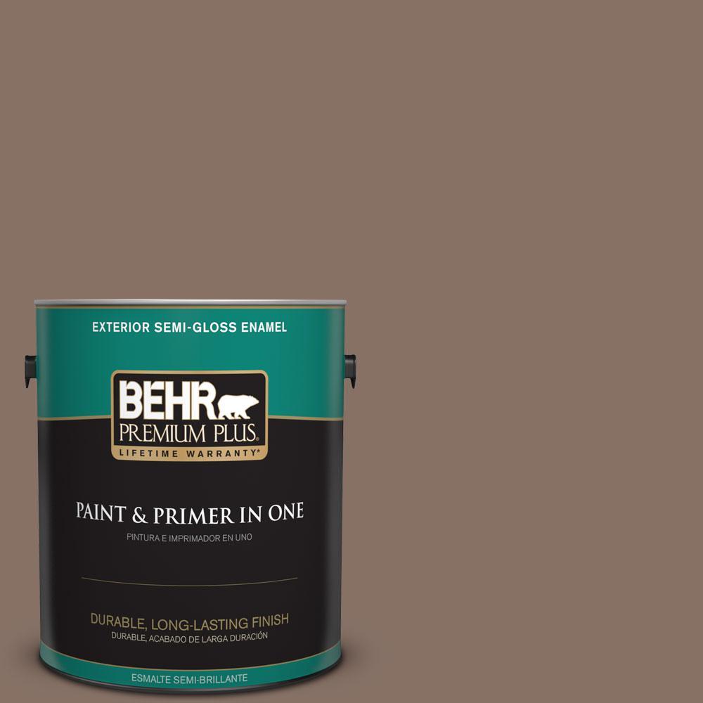 1-gal. #770B-6 Oakwood Brown Semi-Gloss Enamel Exterior Paint