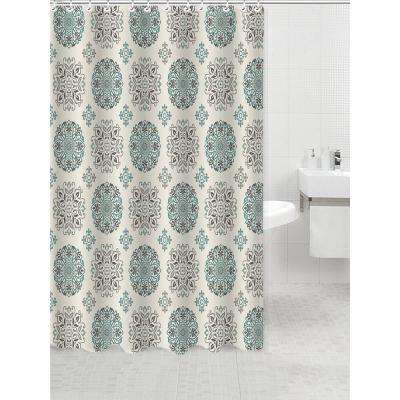 Dobie 72 in. Multi-Colored Shower Curtain Meddalion Design with Hooks