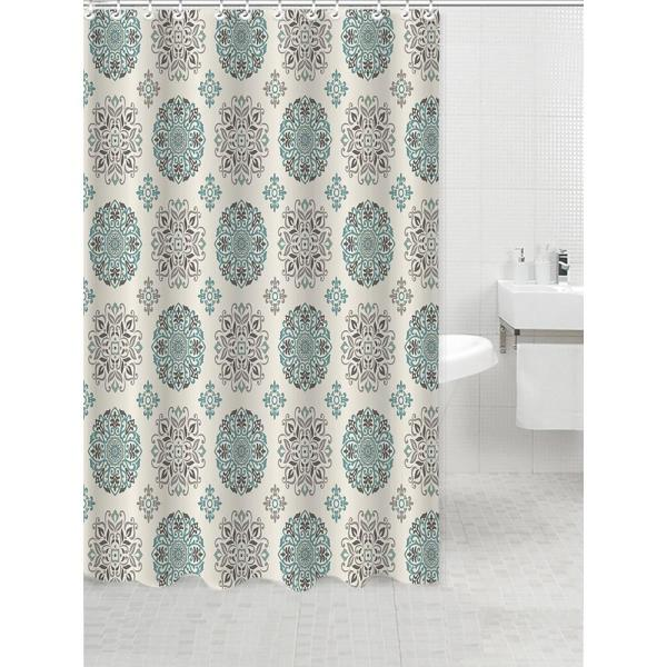 Bath Bliss Dobie 72 in. Multi-Colored Shower Curtain Meddalion Design with Hooks