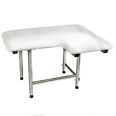 32 in. x 21 in. Left Hand L-Shaped, Padded Folding Shower Seat with Adjustable Legs in White - ADA Compliant