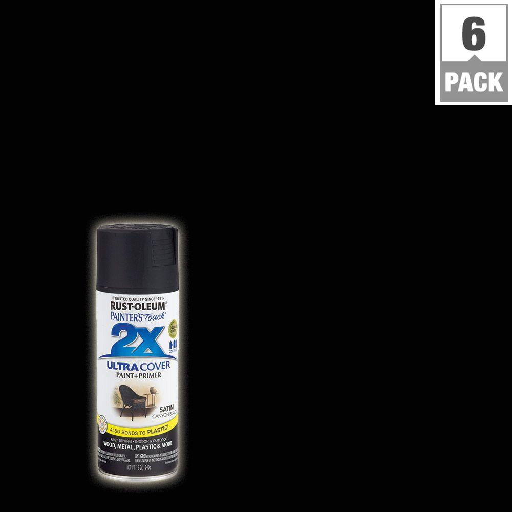 Rust-Oleum Painter's Touch 2X 12 oz. Canyon Black Satin General Purpose Spray Paint (6-Pack)