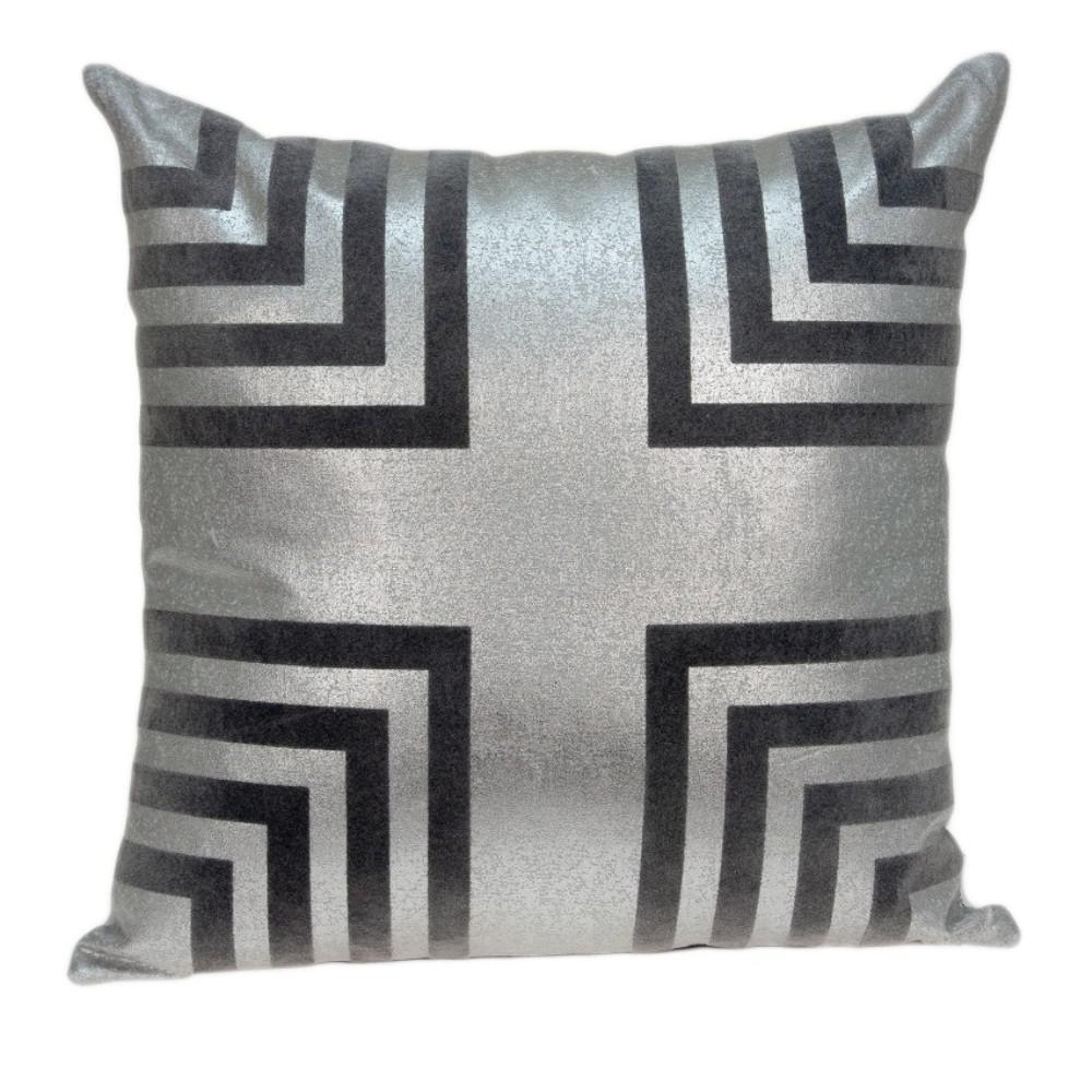 Jordan 20 in. Gray Border Throw Pillow Cover