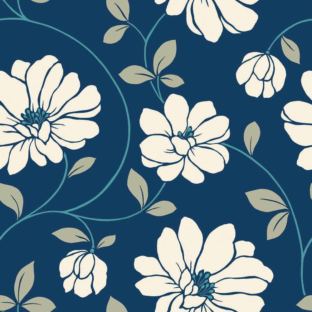 The Wallpaper Company 8 in. x 10 in. Cream and Blue Large Scale Retro Floral Trail Wallpaper Sample-DISCONTINUED