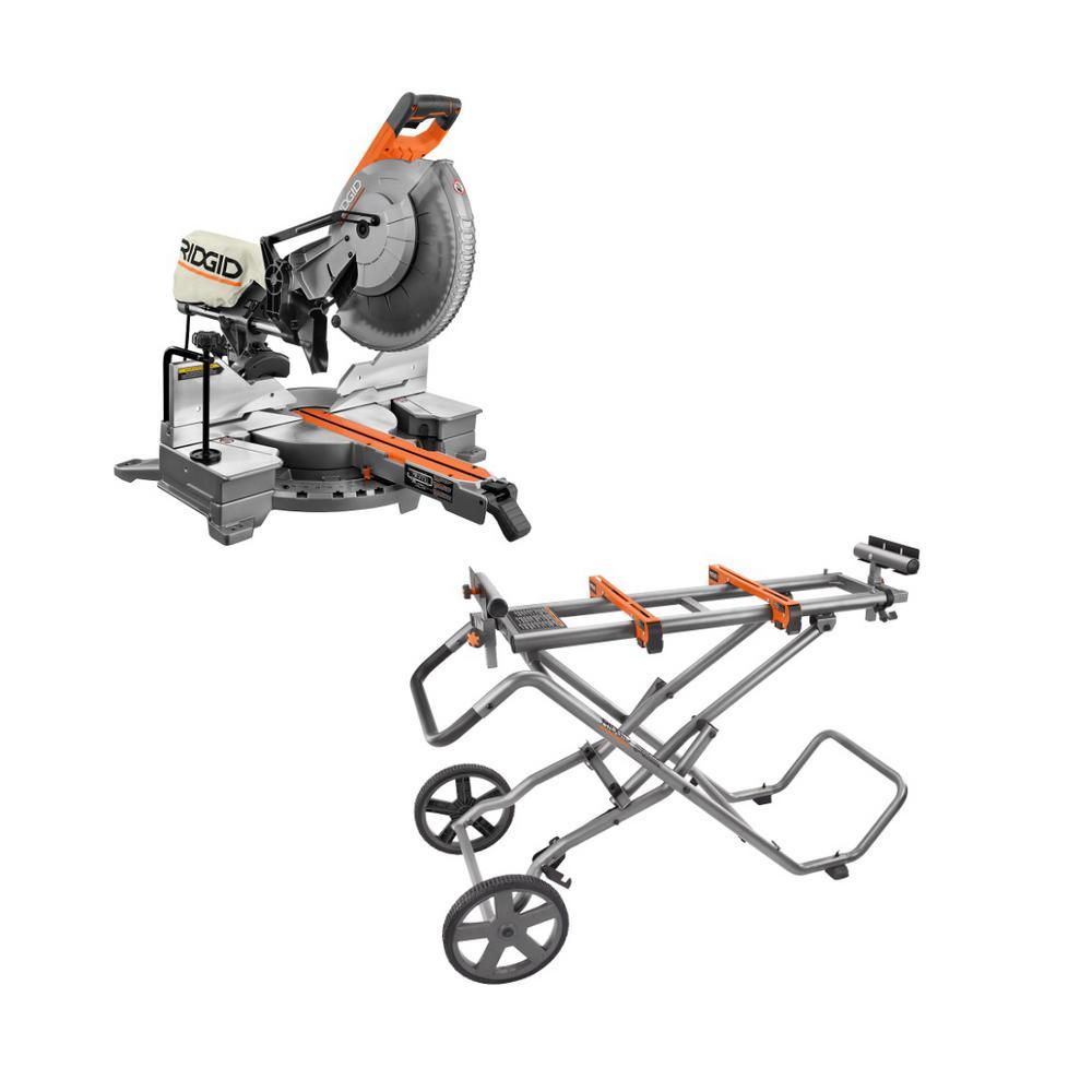 RIDGID 15 Amp Corded 12 in. Dual Bevel Sliding Miter Saw w/ Universal Mobile Miter Saw Stand w/ Mounting Braces