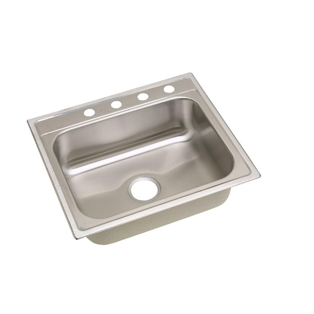 Elkay dayton drop in stainless steel 25 in 4 hole single bowl kitchen sink dpc125224 the home - Kitchen sink specifications ...
