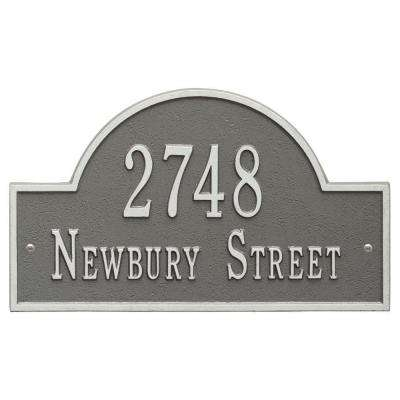 Arch Marker Standard Pewter/Silver Wall 2-Line Address Plaque