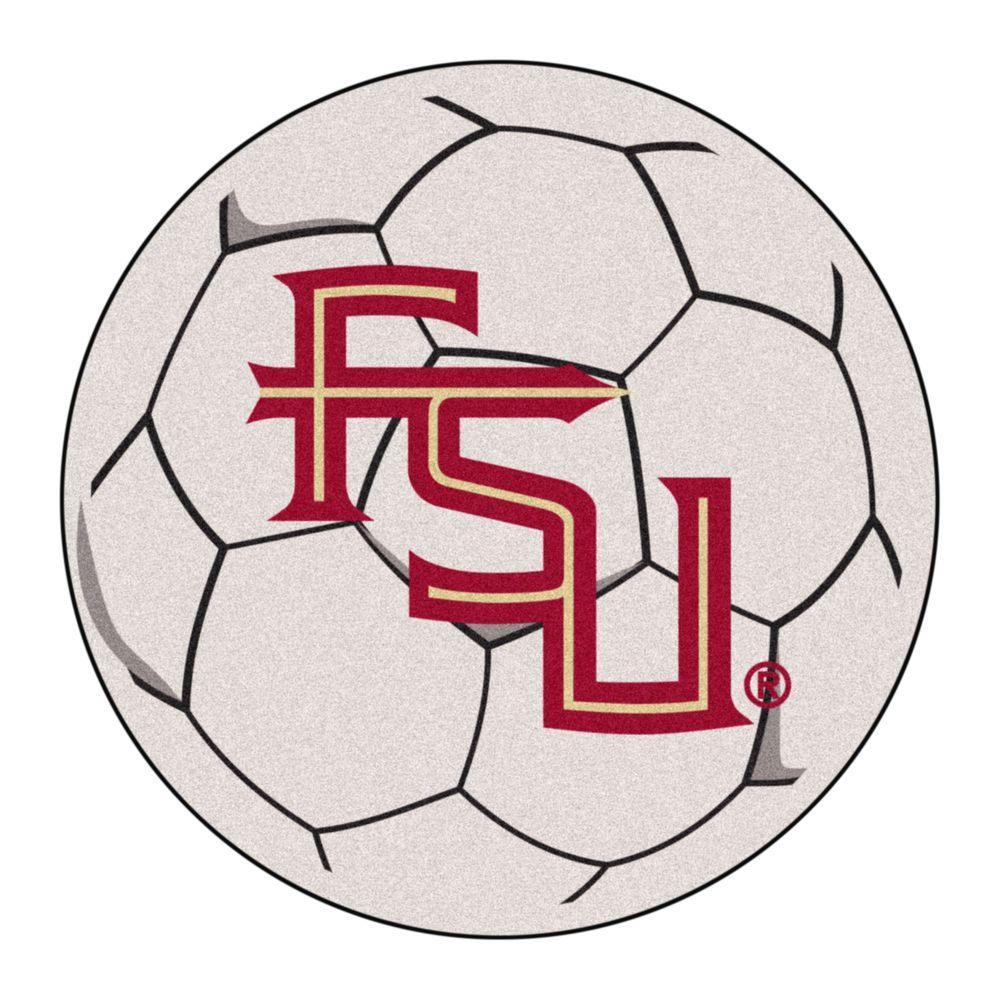 NCAA Florida State University FSU Logo Cream 2 ft. x 2 ft. Round Area Rug