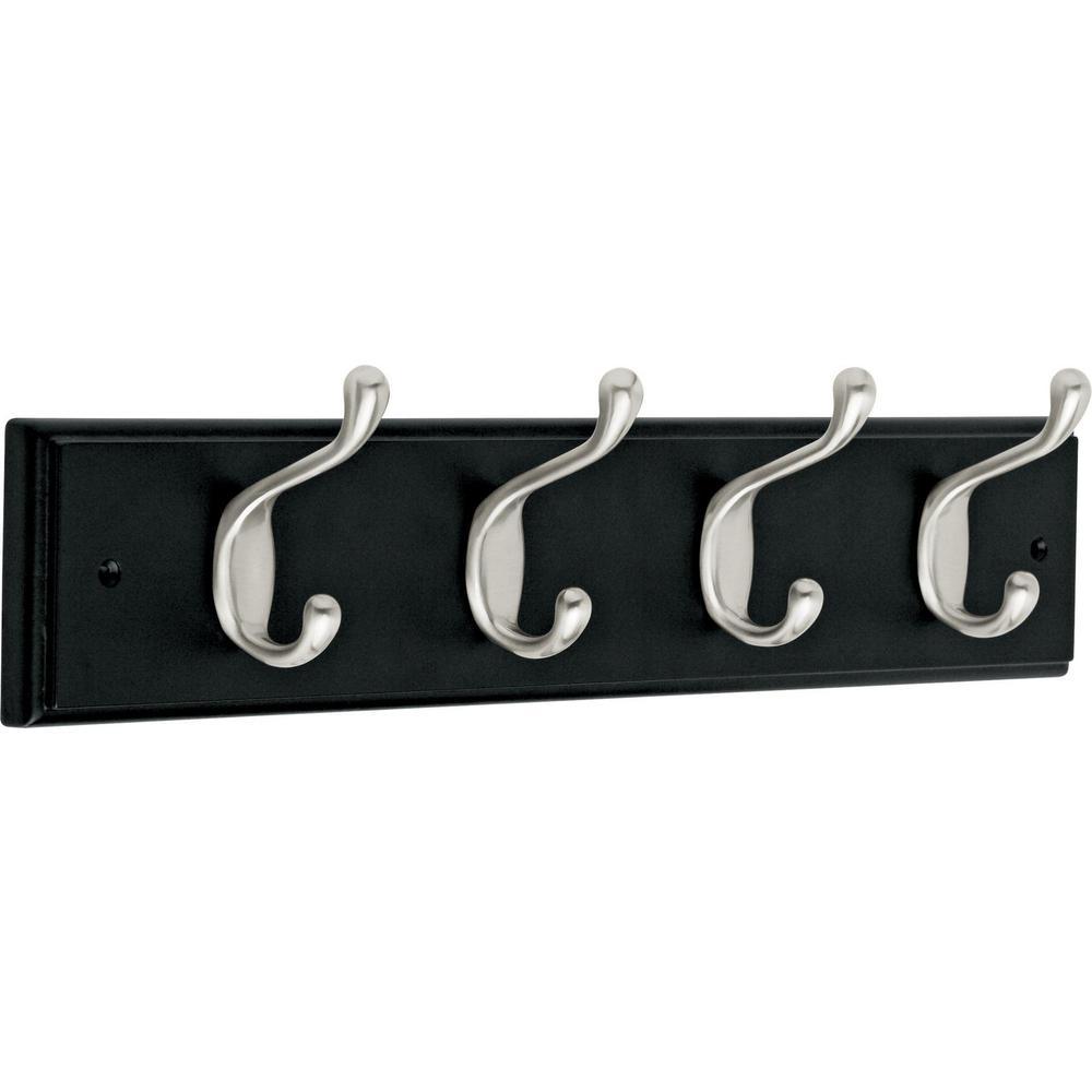 18 in. Black and Satin Nickel Heavy Duty Hook Rack