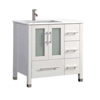 Salem 36 in. W x 22 in. D x 36 in. H Left Side Sink Vanity in White with Microstone Vanity Top in White with White Basin