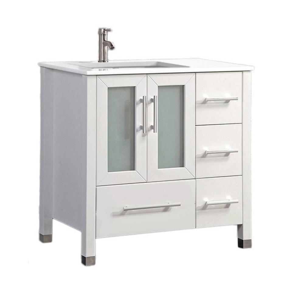 Salem 36 In W X 22 In D X 36 In H Left Side Sink Vanity In White