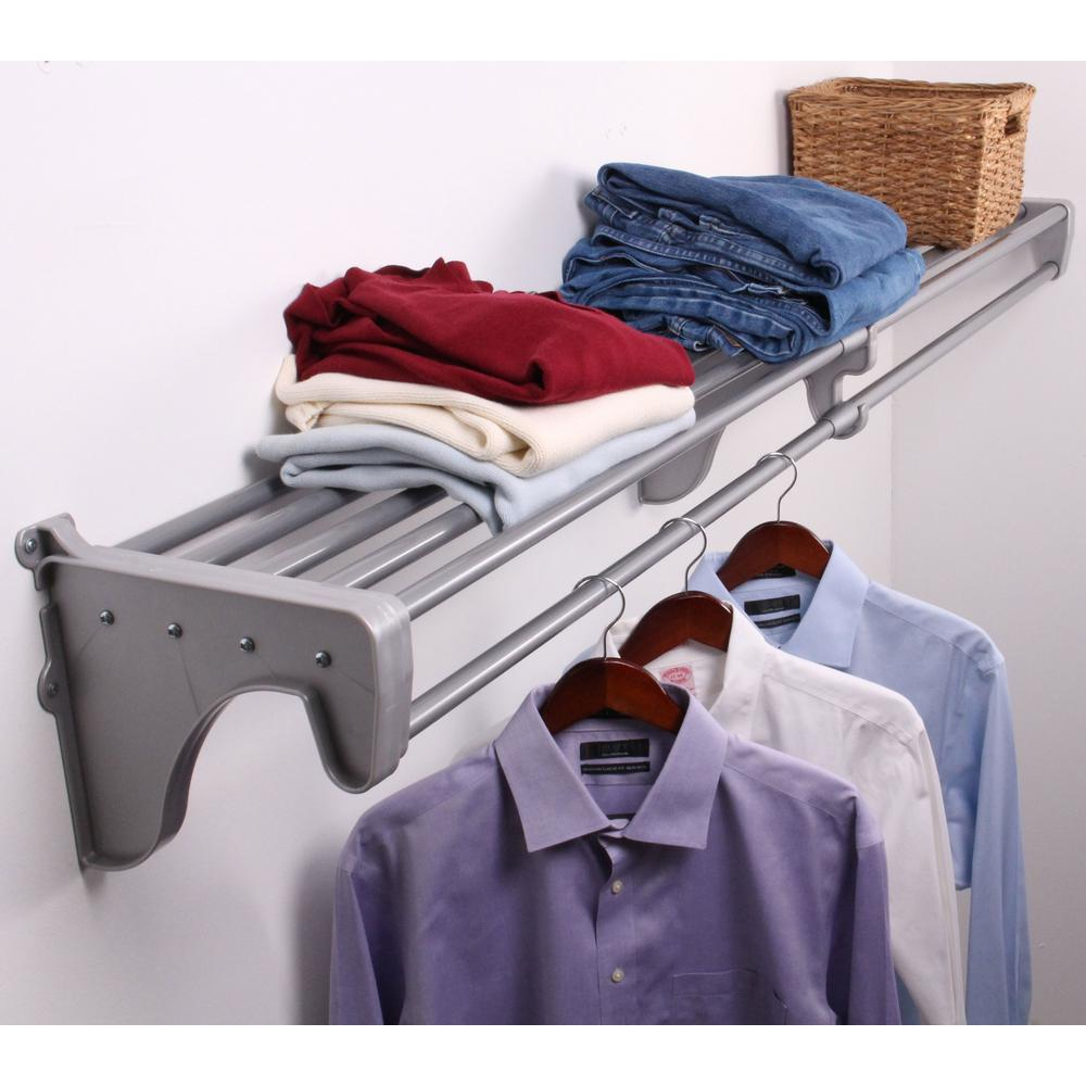 EZ Shelf 28 in. - 49 in. Steel Expandable Shelf and Rod in Silver with 1 End Bracket (for mounting to 1 side wall and back wall)