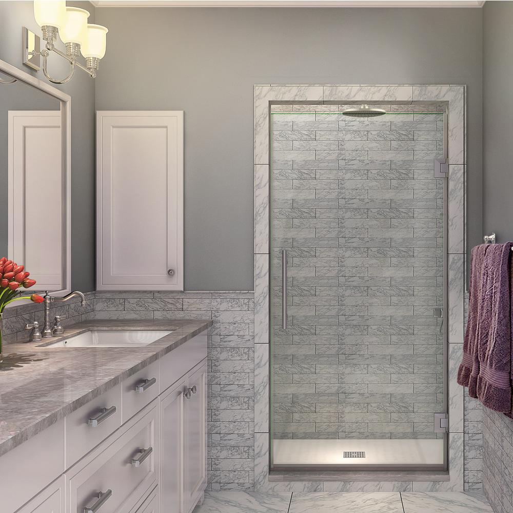 Kinkade 21.75 - 22.25 in. x 72 in. Completely Frameless Hinged Shower Door in Brushed Stainless Steel