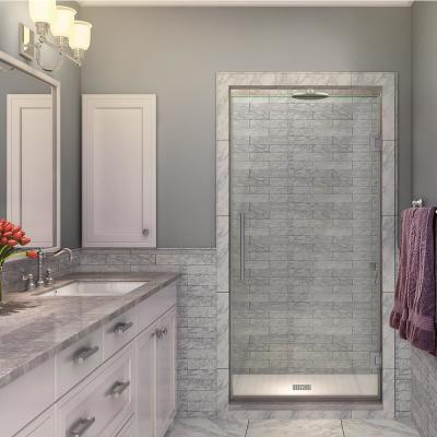 Kinkade 33.75 in. to 34.25 in. x 72 in. Frameless Hinged Shower Door in Stainless Steel