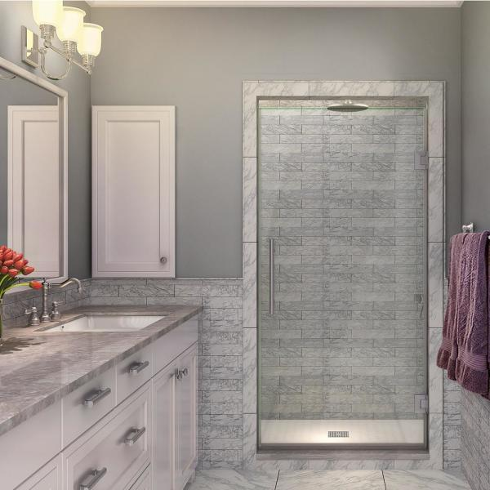 Kinkade 35.75 in. to 36.25 in. x 72 in. Frameless Hinged Shower Door in Stainless Steel