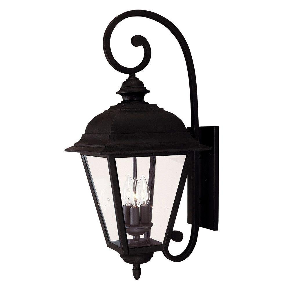 3-Light Outdoor Textured Black Wall Mount Lantern with Clear Beveled Glass