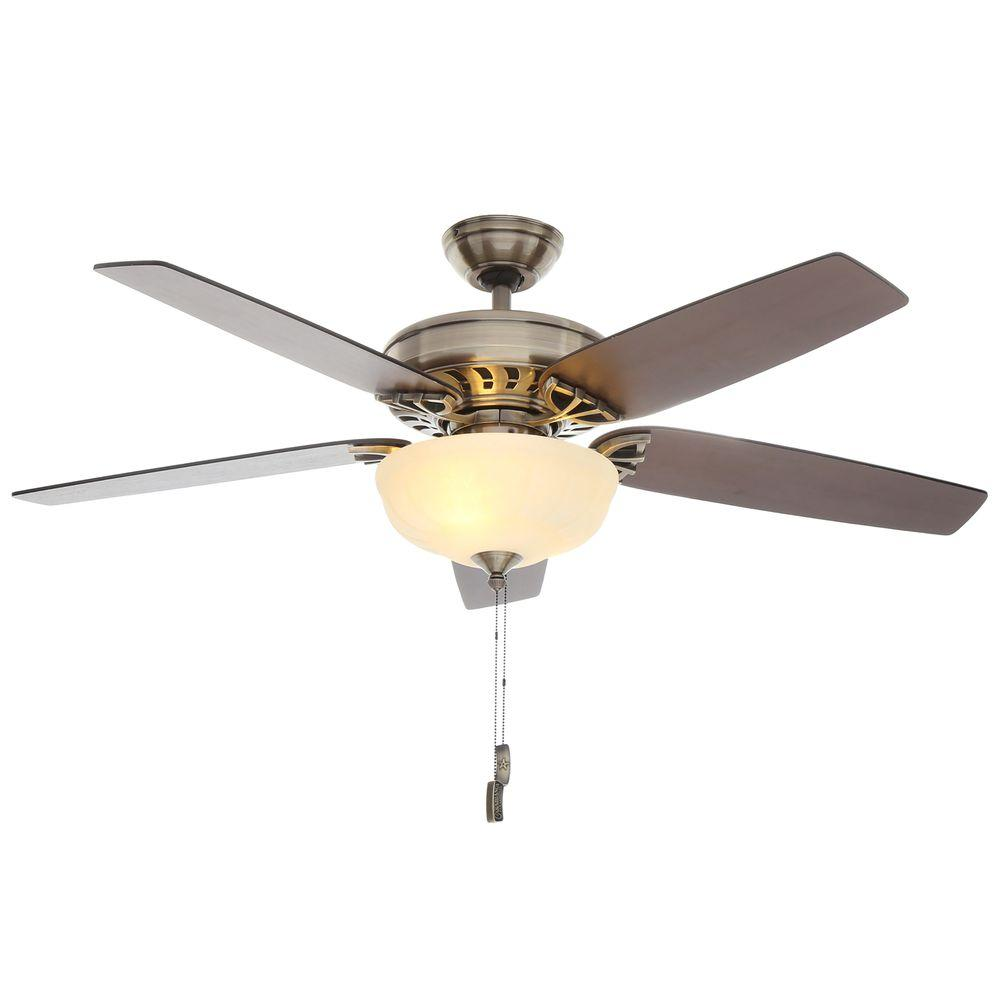 Hunter brass ceiling fans lighting the home depot indoor antique brass ceiling fan with light mozeypictures Image collections