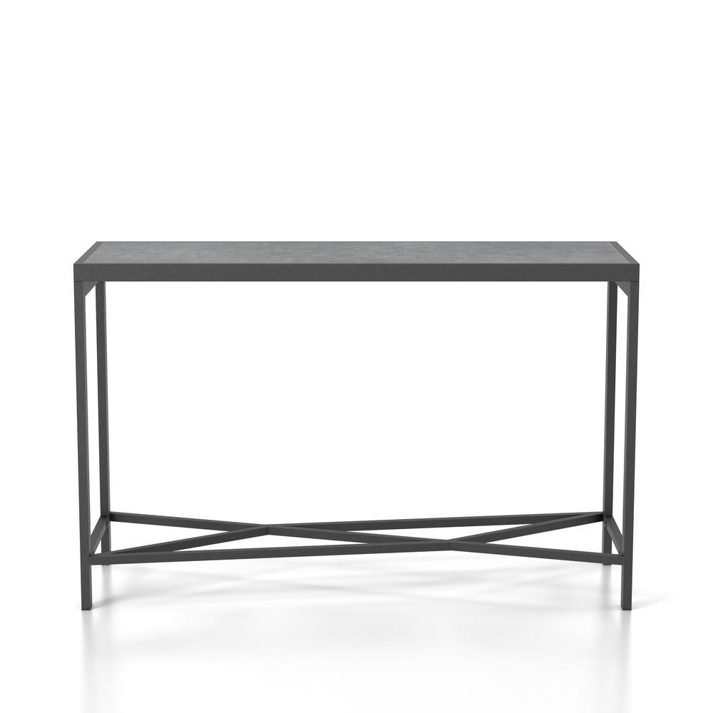 Breza Sand Black Faux Stone Top Console Table