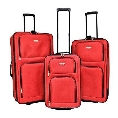 3-Piece Red Expandable Vertical Rolling Luggage Set with Blade Wheels
