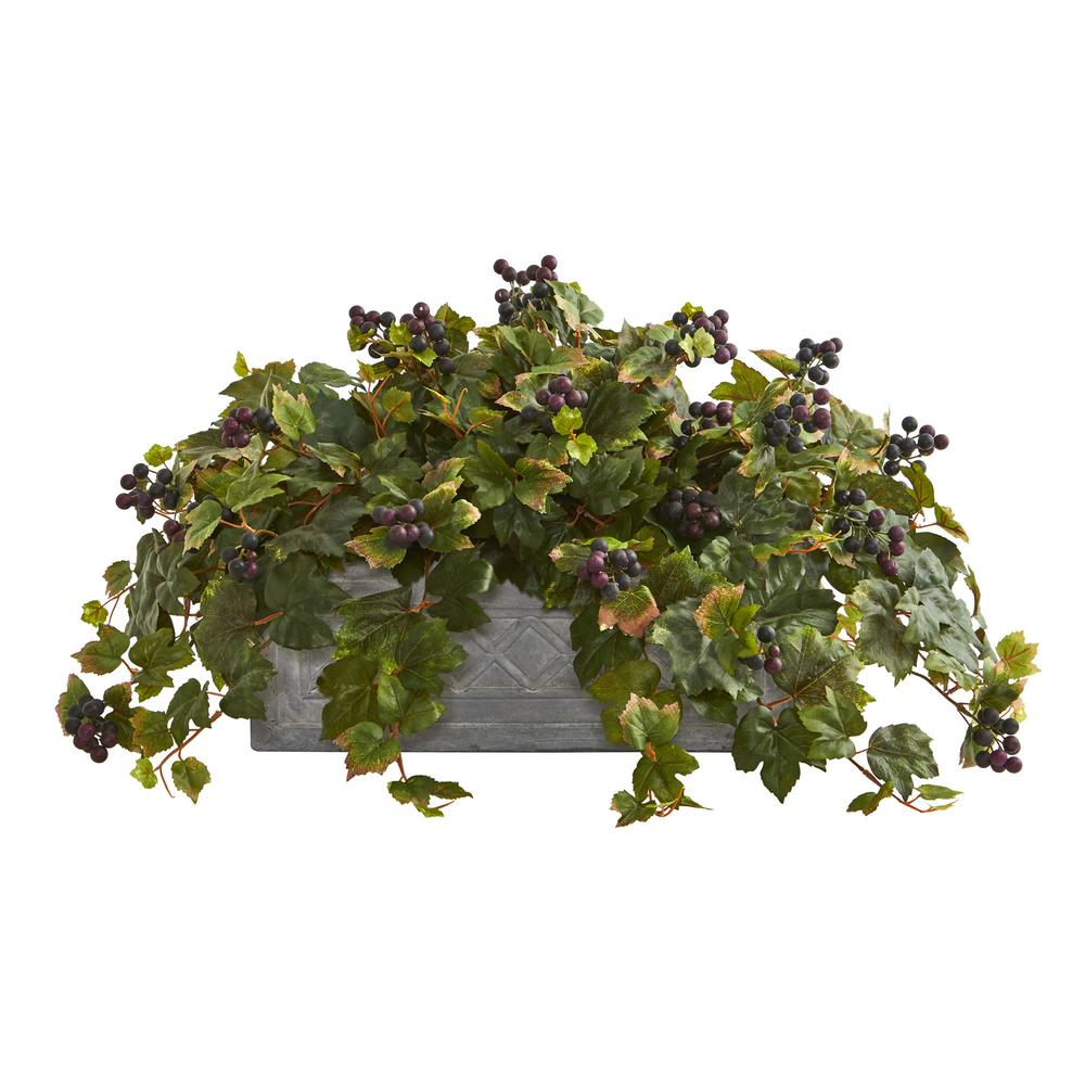 Indoor Grape Leaf Artificial Plant in Stone Planter