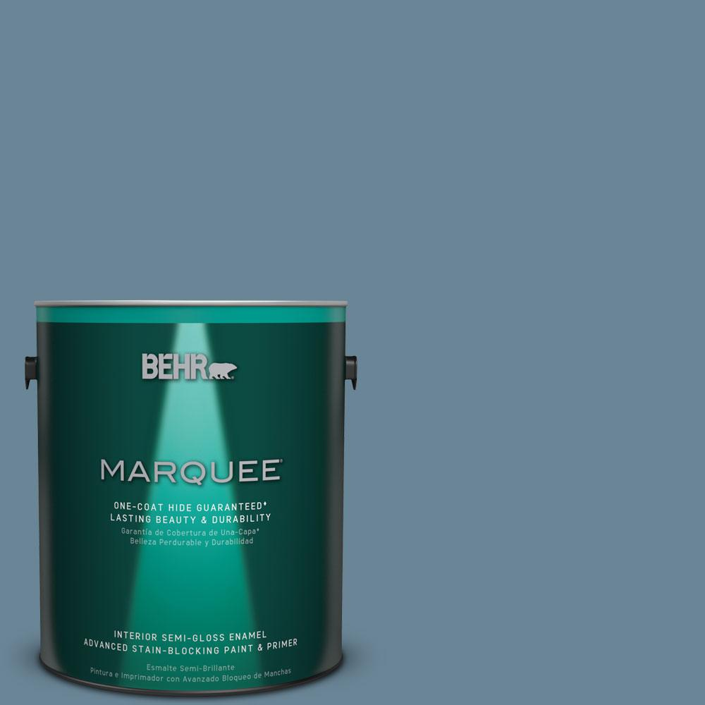 BEHR MARQUEE 1 gal. #MQ5-60 South Pacific One-Coat Hide Semi-Gloss Enamel Interior Paint