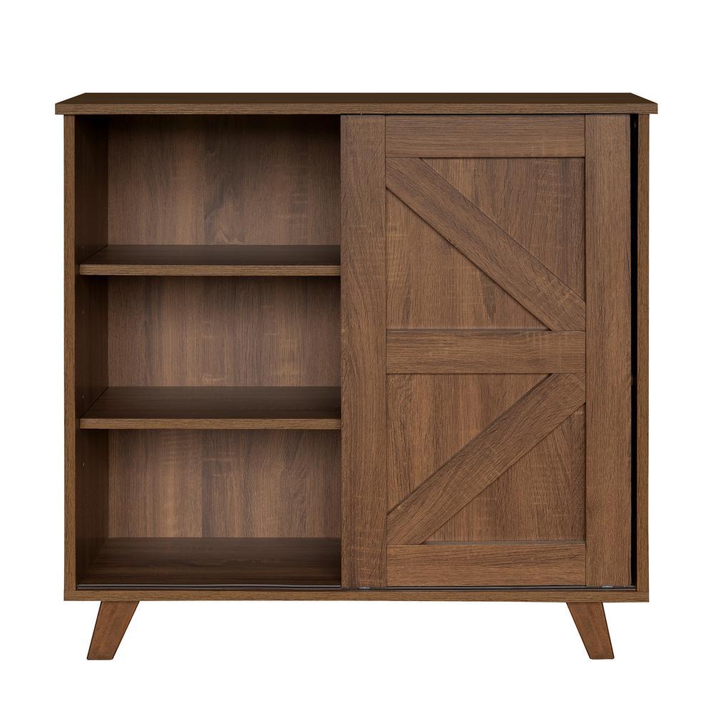 FurnitureR Latza Brown MDF 3-Levels Side Board