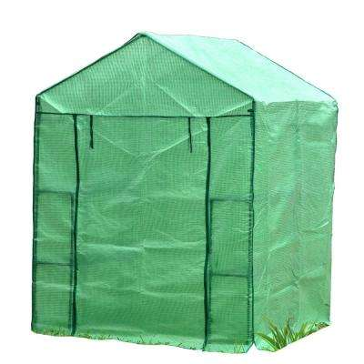 61 in. W x 56 in. D x 79 in. H Portable Walk-in Greenhouse with Heavy-Duty Opaqua Cover