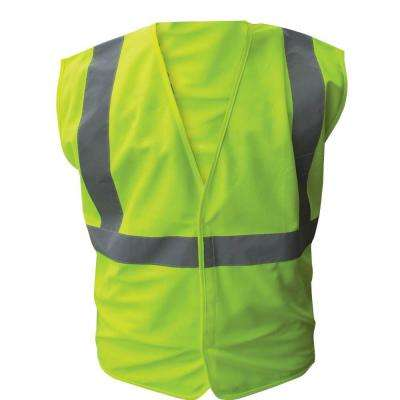 Size 5X-Large Lime ANSI Class 2 Solid Polyester Safety Vest with 2 in. Silver Striping