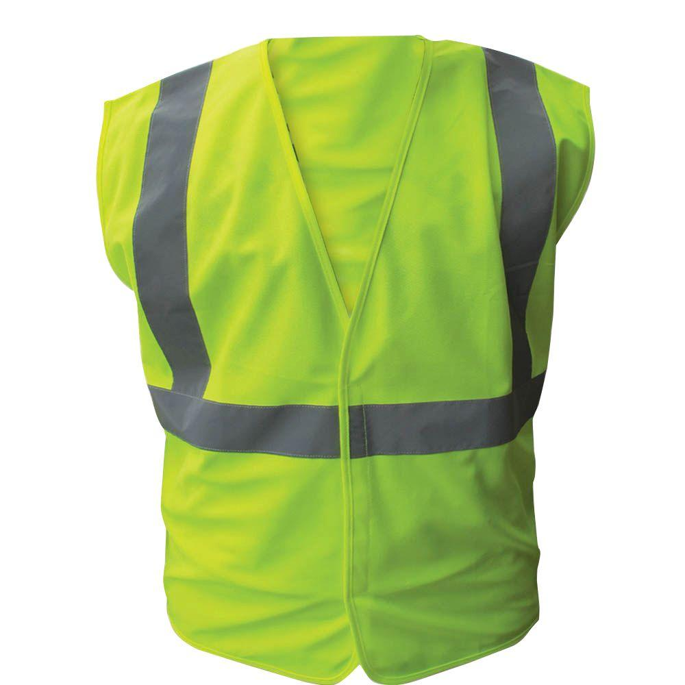 Enguard Size Extra-Large Solid Lime ANSI Class 2 Polyester Safety Vest with 2 in. Silver Striping