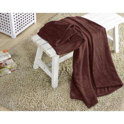 Arielle Burgundy Plush Throw