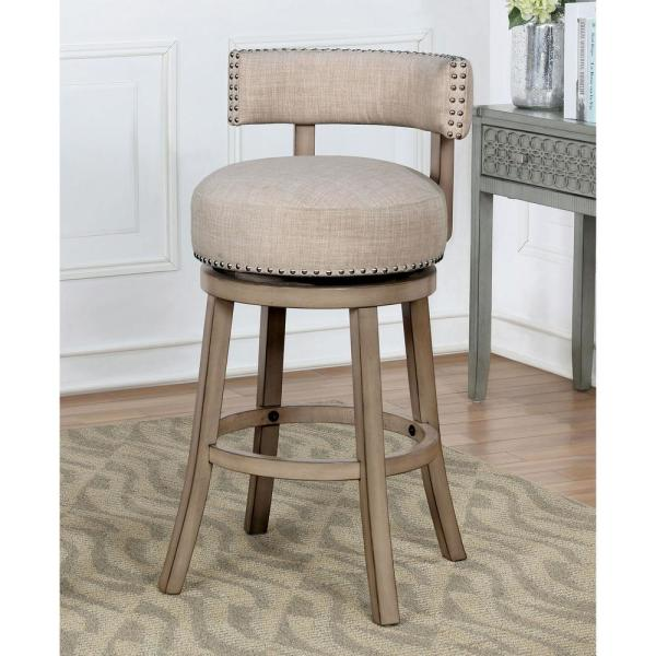 Furniture of America Johann 30 in. Gray Swivel Cushioned Barstools (Set of 2)