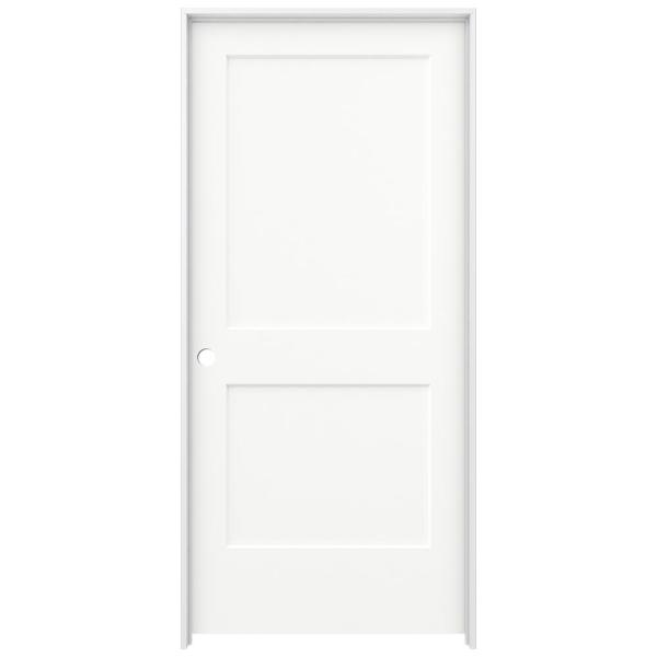 36 in. x 80 in. Monroe White Painted Right-Hand Smooth Solid Core Molded Composite MDF Single Prehung Interior Door