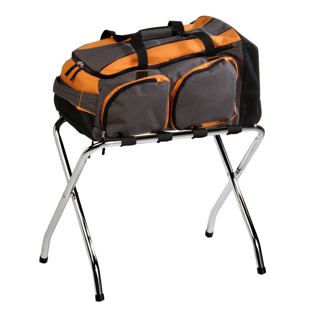 Honey Can Do 21.5 In L X 15 In W X 26.57 In H Steel Luggage Rack In  Chrome TBL 01817   The Home Depot