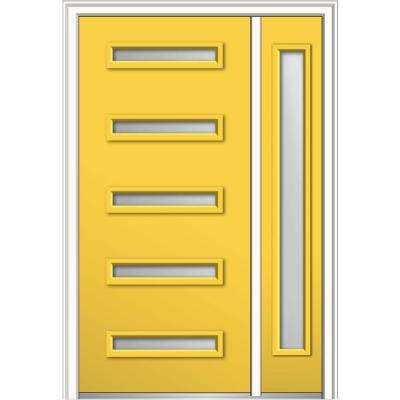 48 in. x 80 in. Davina Low-E Glass Right-Hand Inswing 5-Lite Modern Painted Steel Prehung Front Door with Sidelite