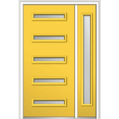53 in. x 81.75 in. Davina Frosted Glass Left-Hand Inswing 5-Lite Modern Painted Steel Prehung Front Door with Sidelite