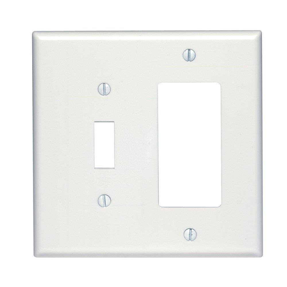 2-Gang Midway Size 1-Toggle 1-Decora Plastic Combination Wall Plate, White