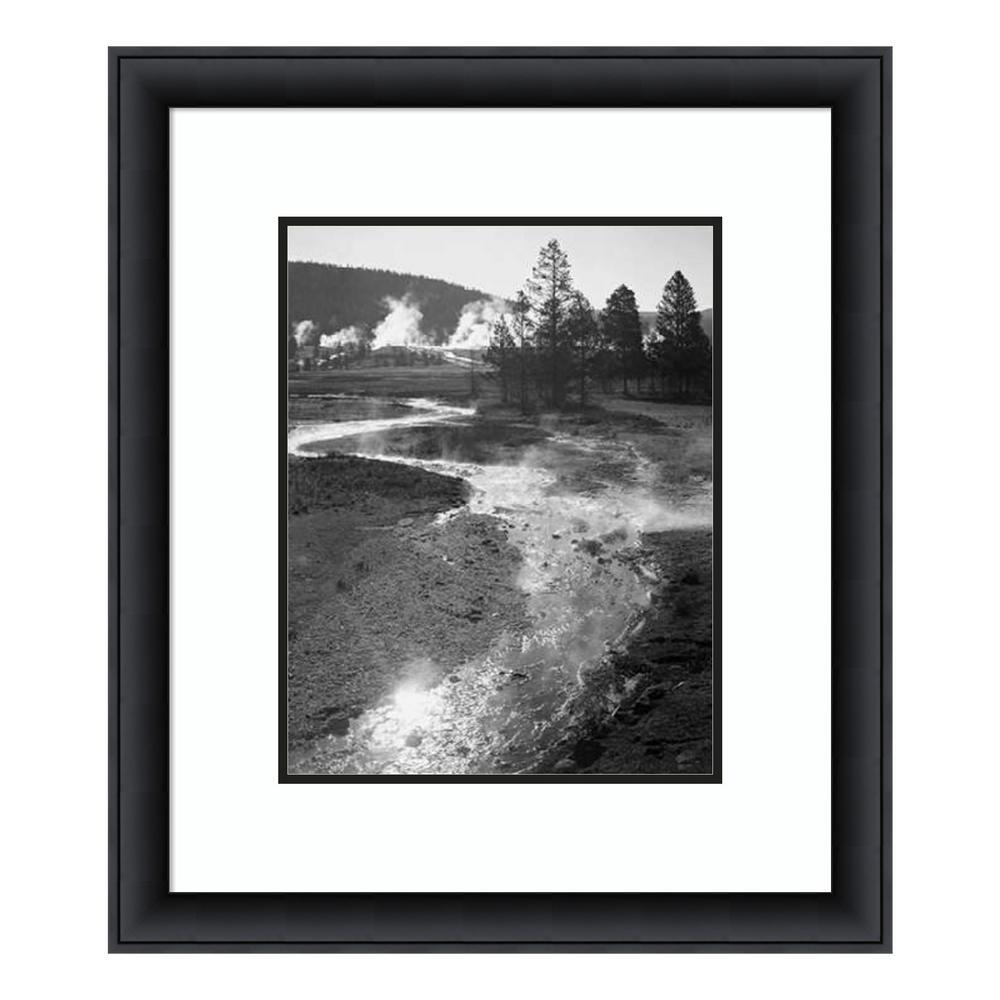 """Stream winding back toward geyser, Yellowstone National Park, WY, ca. 194"" by Ansel Adams Framed Wall Art"