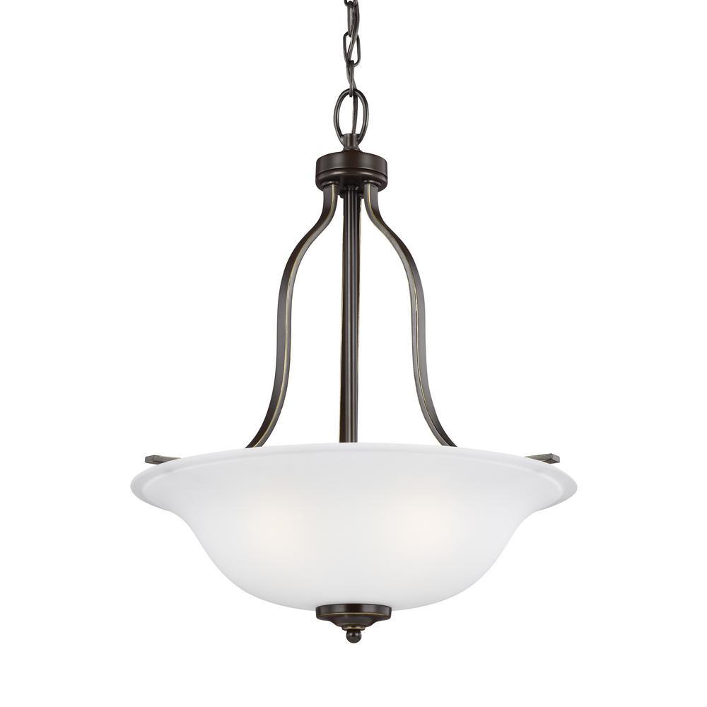 Sea Gull Lighting Emmons 3-Light Heirloom Bronze Pendant with LED Bulbs